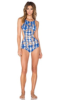 Indah Nzuri High Neck Crochet One Piece in Tiedye Blue