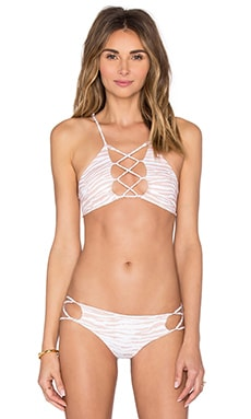 Hapa Lace Up Front Top in White Tiger