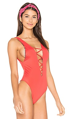 Rainey Lace Up One Piece in Chili Pepper