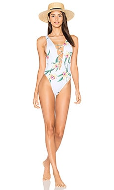 Rainey Lace Up One Piece in Lush Lily