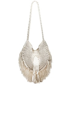 Indah Seasame Hand Crochet Fringe Bag in Natural & Leopard