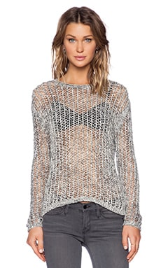 Inhabit Crochet Crew Neck Sweater in Shale