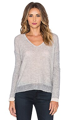 Inhabit Reversible V-Neck Sweater in Felt & Ivory Combo