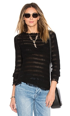Inhabit Fringe Stripe Sweater in Black