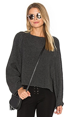 Crop Crew Neck Sweater in Charcoal