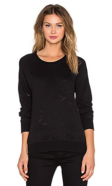 IRO . JEANS Nona Destroyed Sweatshirt in Black