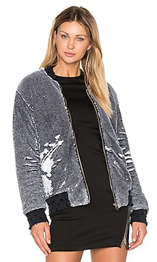 Amaia Sequin Bomber Jacket in Black