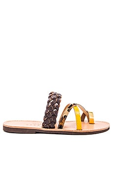 Ftelia Calf Hair Sandal in Yellow
