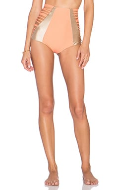 Sahara High Waist Bikini Bottom in Papaya