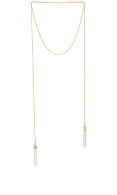 Double Crystal Wrap Necklace in Gold