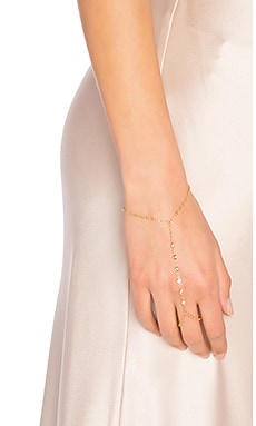 7 CZ Finger Bracelet in Gold