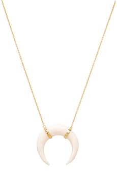 Jacquie Aiche Bone Pendant Crescent Necklace in Gold