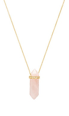 Opalite Pendant Necklace in Gold & Rose Quartz