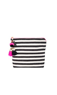 Valerie Pink Tassel Clutch in Black