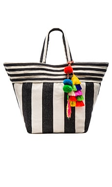 Valerie Multi Tassel Wide Tote in Black