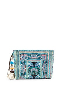 JADEtribe Eliz Pom Clutch in Blue