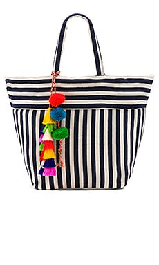 Valerie Multi Tassel Pom Tote Bag in Indigo