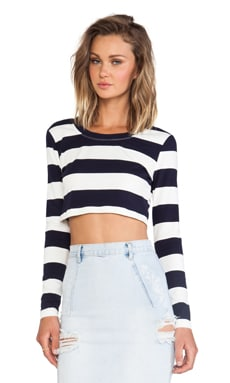 JAGGAR Explorer Long Sleeve Crop Top in Navy & White Stripe