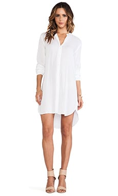 James Perse Collarless Shirt Dress in White