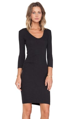 James Perse Double V Tucked Dress in Black