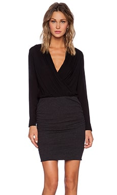 James Perse Collage Wrap Dress in Black
