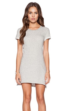 James Perse Stripe Fleece Dress in Heather Grey