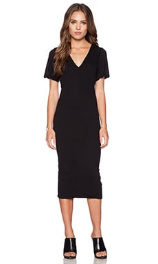 James Perse Flutter Sleeve Dress in Black