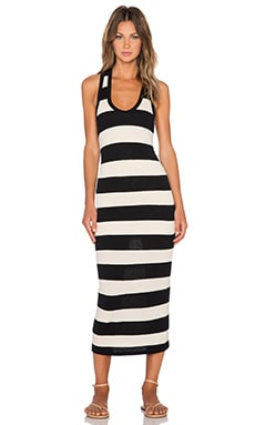 James Perse Bar Stripe Tank Dress in Natural & Black