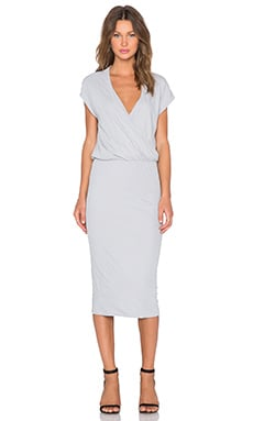 James Perse Sleeveless Wrap Dress in Fog