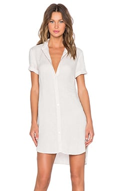 James Perse Linen Shirt Dress in Ceramic