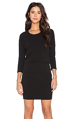 James Perse Dolman Blouson Back Dress in Black