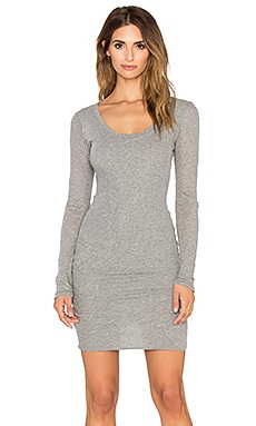James Perse Skinny Scoop Back Dress in Heather Grey