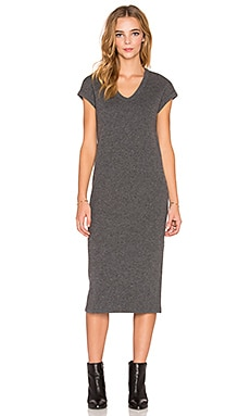 James Perse Rib Cap Sleeve Dress in Heather Charcoal