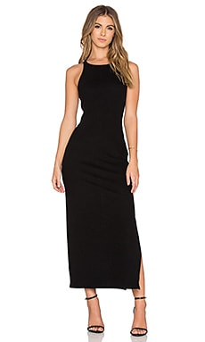 James Perse Sleeveless Side Split Dress in Black