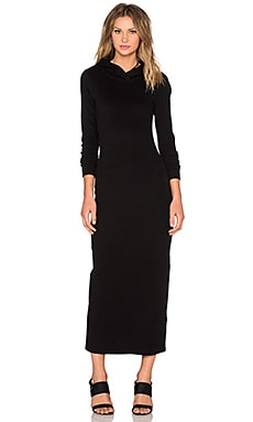 James Perse Long Hoodie Dress in Black