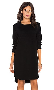 Brushed Jersey Raglan Dress in Black