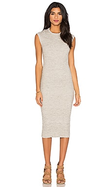 James Perse Ribbed Cap Sleeve Dress in Heather Grey