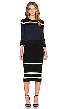 Cotton Terry Stripe Dress en Noir & Crème & Marine & Blanc