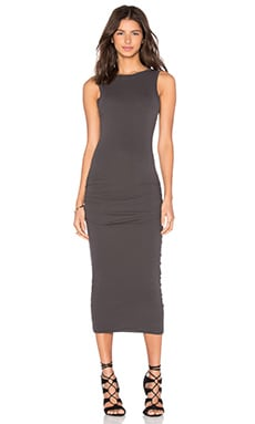 James Perse Open Back Skinny Dress in Carbon