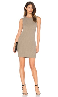James Perse Ribbed Shell Dress in Khaki