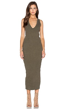 Heavy Rib V-Neck Dress in Majoran