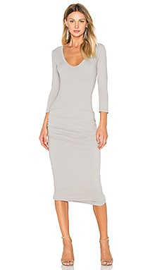 James Perse Classic V-Neck Skinny Dress in Dapple