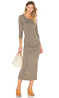 James Perse Skinny Split Dress in Ammo