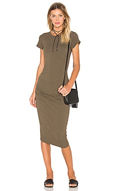 James Perse Classic Skinny Dress in Army Green