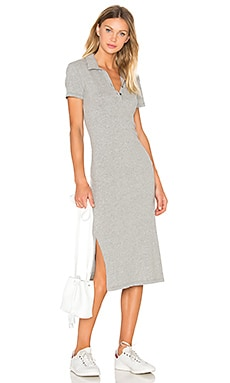 Short Sleeve Henley Dress en Gris Chiné