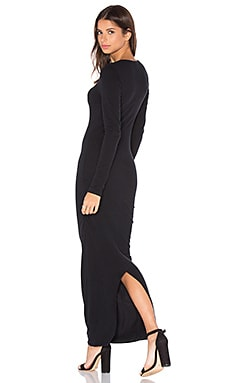 James Perse Skinny Split Dress in True Black