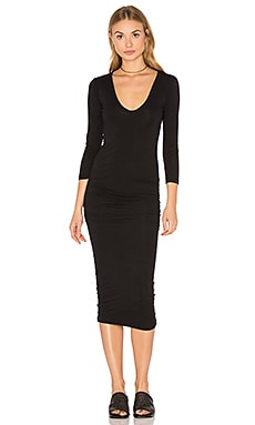 Classic V-Neck Skinny Dress in Black