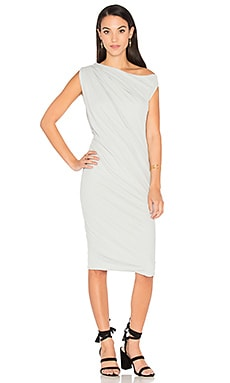 One Shoulder Draped Dress in Foam