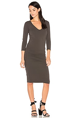 V Neck Skinny Dress in Carbon