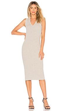 Купить Мини платье в рубчик - James Perse, Миди, США, Светло-серый